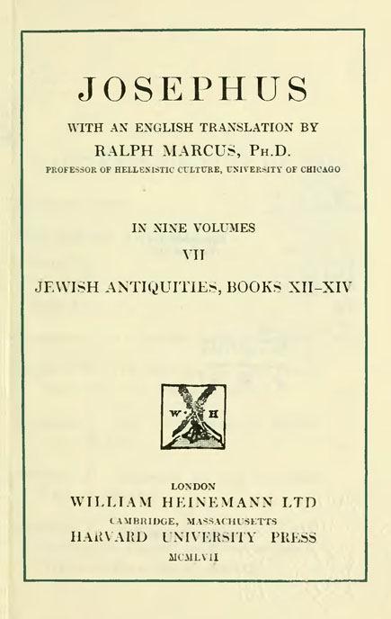 Josephus. 7 vol.  With an English translation by H.St.J.Thackeray. //  Loeb Classical Library. London: Heinemann