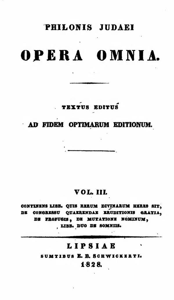 Philonis Judaei opera omnia.  Ed. M.C.E.Richter. Vol. III.  (Bibliotheca Sacra Patrum Ecclesiae Graecorum 2.)  Leipzig: Schwickert, 1828