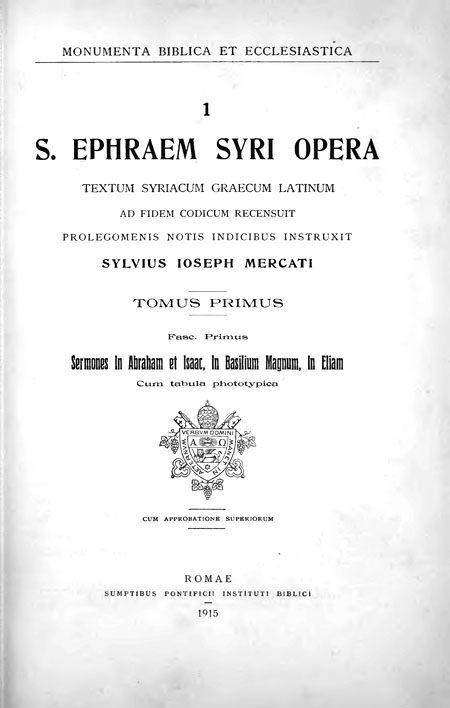 S. Ephraem Syri opera. Tomus primus